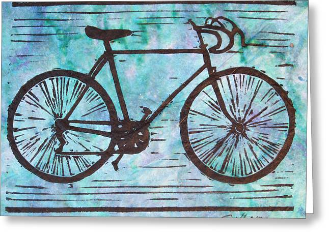 Linoluem Greeting Cards - Bike 8 Greeting Card by William Cauthern