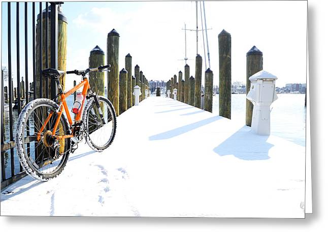 Docked Boat Greeting Cards - Bike on a snowy dock Greeting Card by Tara Roberts