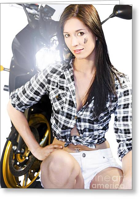 Plaid Shirt Greeting Cards - Biker Girl Greeting Card by Ryan Jorgensen
