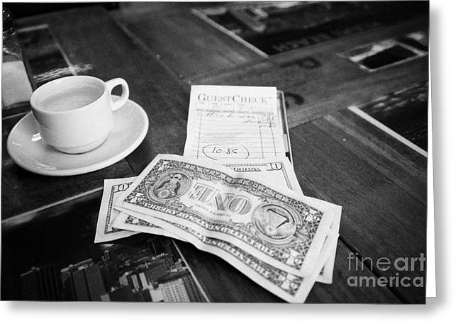 Expense Greeting Cards - Bill With Cash And Tip In A Cuban Restaurant Miami South Beach Florida Usa Greeting Card by Joe Fox