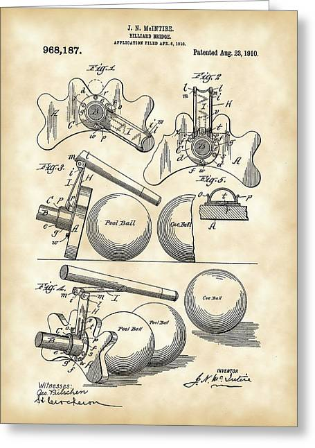 Win Greeting Cards - Billiard Bridge Patent 1910 - Vintage Greeting Card by Stephen Younts