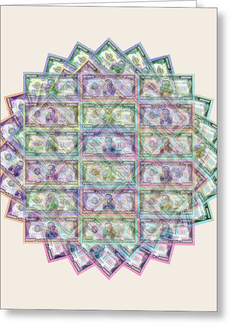 1 Billion Dollars Geometric Tan Greeting Card by Tony Rubino