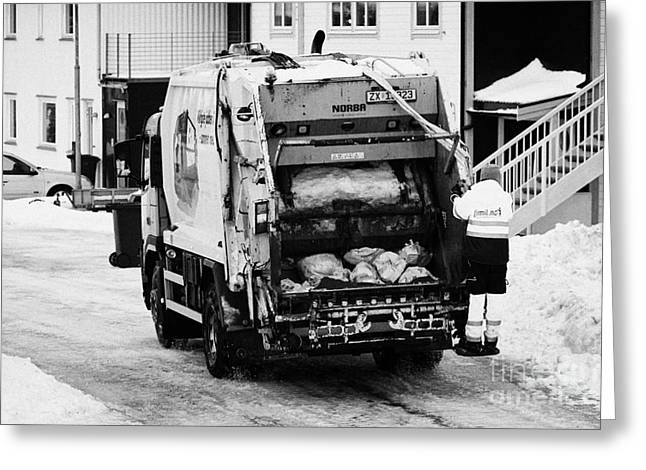 Scandanavian Greeting Cards - bin refuse collection rounds in winter Honningsvag finnmark norway europe Greeting Card by Joe Fox