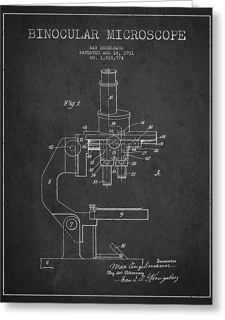 Glass Wall Greeting Cards - Binocular Microscope Patent Drawing from 1931 Greeting Card by Aged Pixel