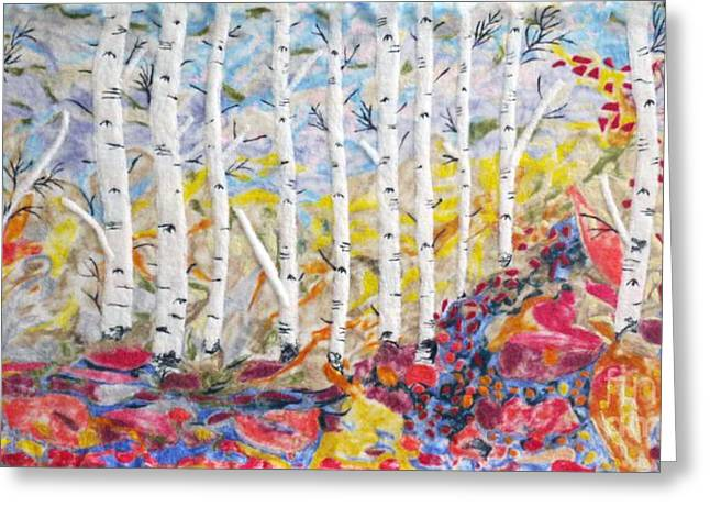 Wool Tapestries - Textiles Greeting Cards - Birch Paradise Greeting Card by Heather Hennick