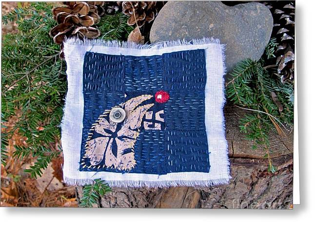 Berry Tapestries - Textiles Greeting Cards - Bird and Berry Greeting Card by Linda Marcille