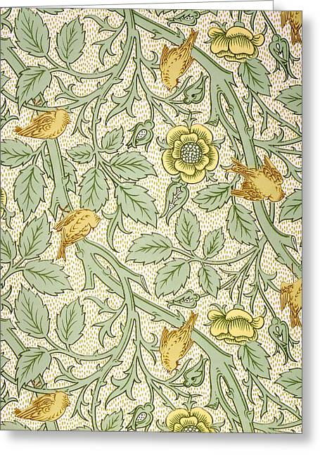 Wallpapers Greeting Cards - Bird Wallpaper Design Greeting Card by William Morris