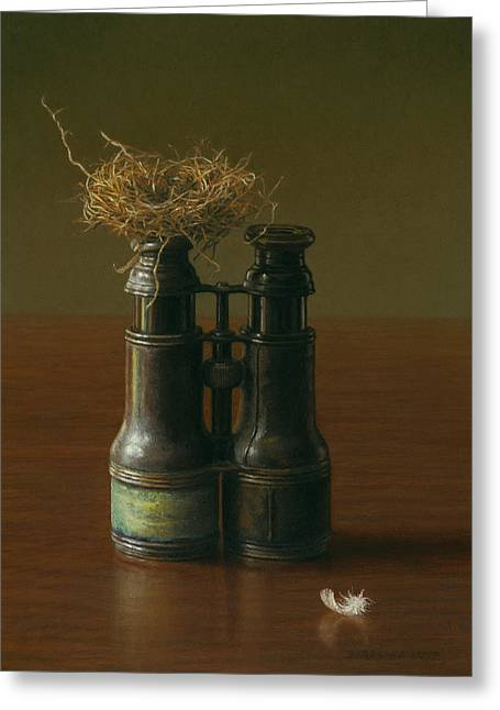 Tabletop Pastels Greeting Cards - Bird Watching Greeting Card by Barbara Groff