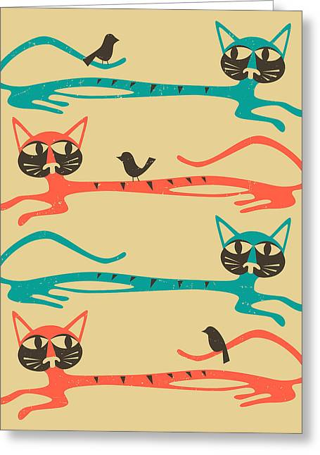 Pop Surrealism Greeting Cards - Birds on a Cat Greeting Card by Jazzberry Blue