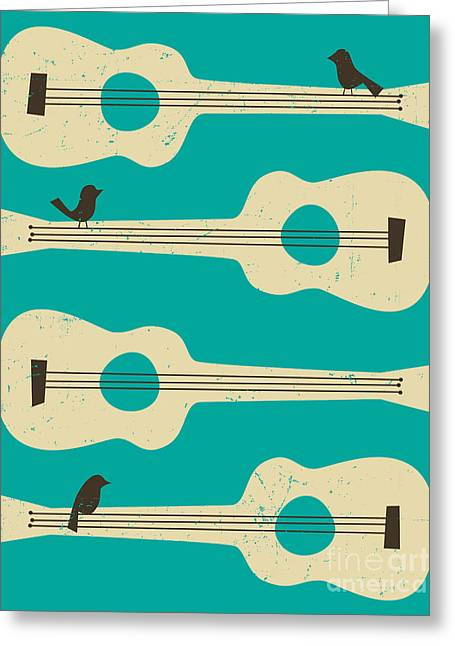Baby Bird Greeting Cards - Birds On Guitar Strings Greeting Card by Jazzberry Blue
