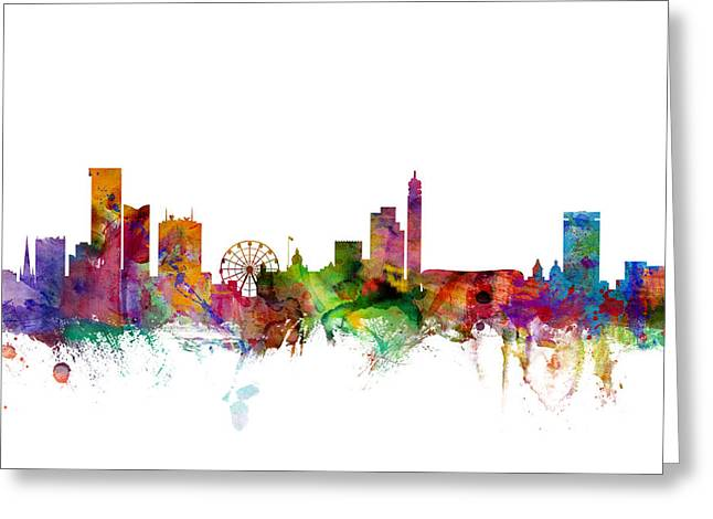 Cityscape Digital Art Greeting Cards - Birmingham England Skyline Greeting Card by Michael Tompsett