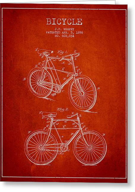 Pedals Greeting Cards - Bisycle Patent Drawing From 1898 Greeting Card by Aged Pixel