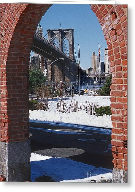Bklyn Bridge Greeting Card by Bruce Bain