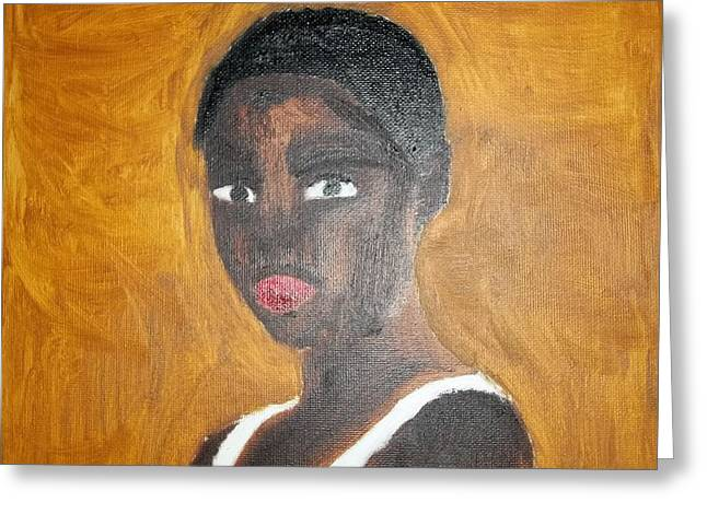 Etc. Paintings Greeting Cards - Black African American Woman of 2013 Greeting Card by William Sahir House