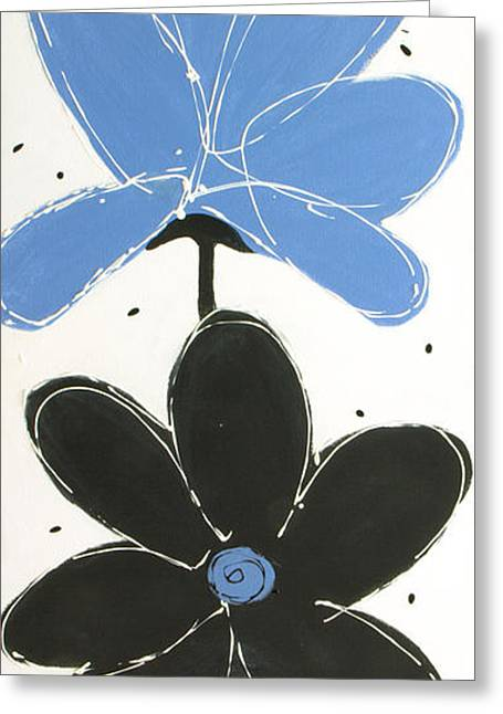 Abstract Rain Greeting Cards - Black And Blue Greeting Card by Lisa Adame