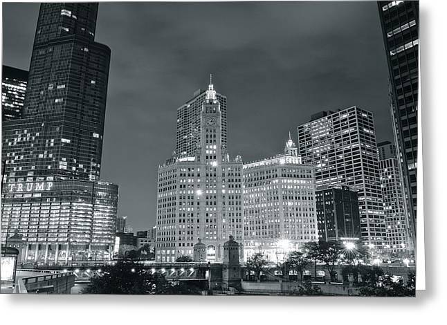 Town Square Greeting Cards - Black and White Chicago Greeting Card by Frozen in Time Fine Art Photography