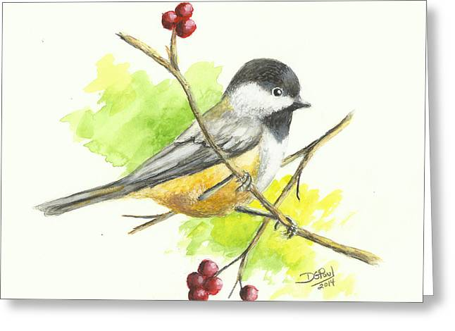 Black Berries Greeting Cards - Black-Capped Chickadee Greeting Card by David G Paul