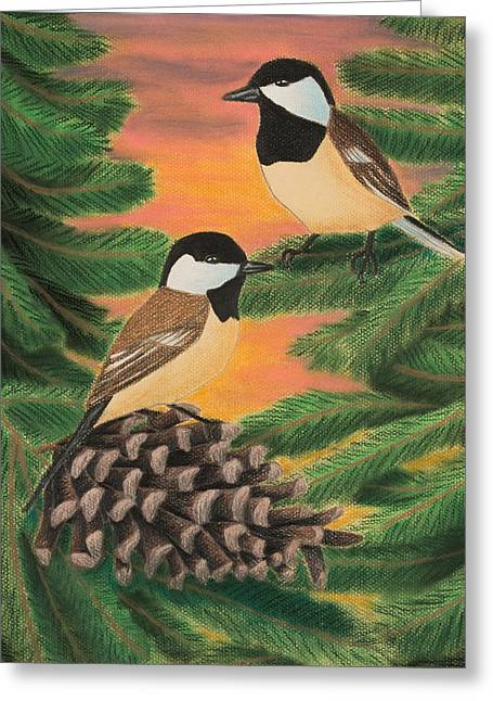 Pine Cones Pastels Greeting Cards - Black-capped Chickadee Greeting Card by Jeanette K
