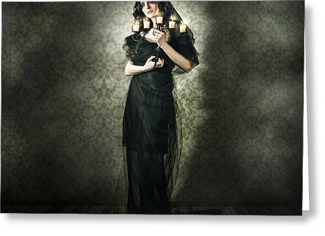 Black Widow Greeting Cards - Black Fashion Model In Dark Vintage Haunted House Greeting Card by Ryan Jorgensen