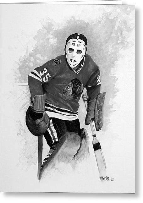 Goaltender Paintings Greeting Cards - Black Hawk Shut Down Greeting Card by William Walts