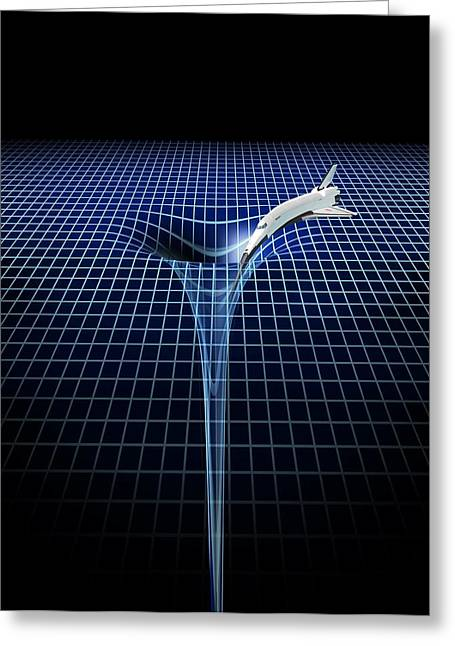 Distortion Greeting Cards - Black hole, artwork Greeting Card by Science Photo Library