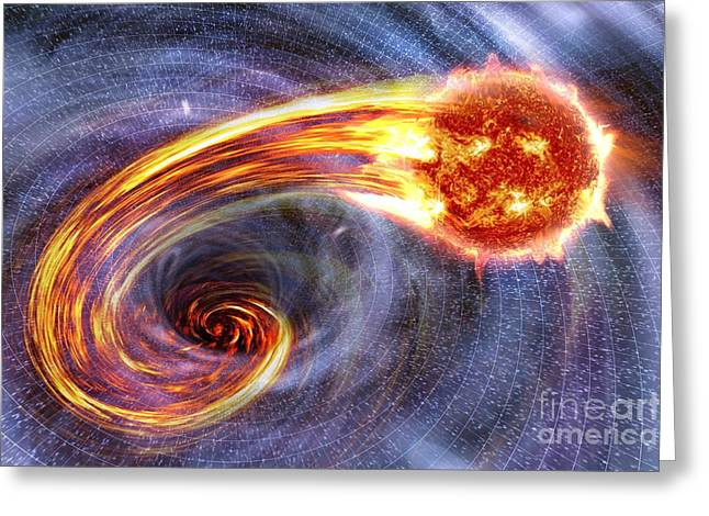 Swallow Hole Greeting Cards - Black Hole Swallowing A Star, Artwork Greeting Card by Science Photo Library