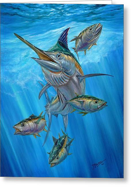 Black Marlin Paintings Greeting Cards - Black Marlin And Albacore Greeting Card by Terry Fox