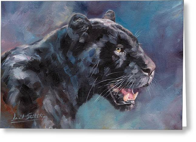 Black Leopard Greeting Cards - Black Panther Greeting Card by David Stribbling