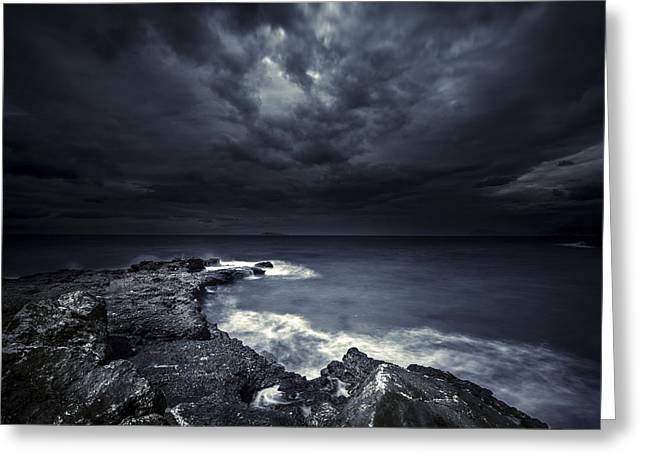 Grey Clouds Greeting Cards - Black Rocks Protruding Through Rough Greeting Card by Evgeny Kuklev