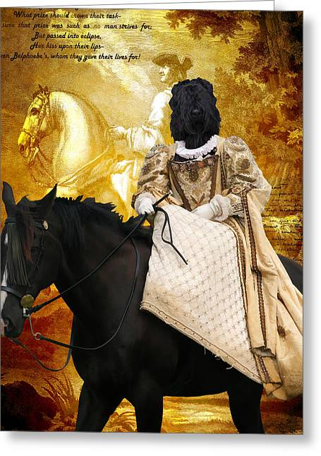 Black Russian Greeting Cards - Black Russian Terrier Art Canvas Print Greeting Card by Sandra Sij