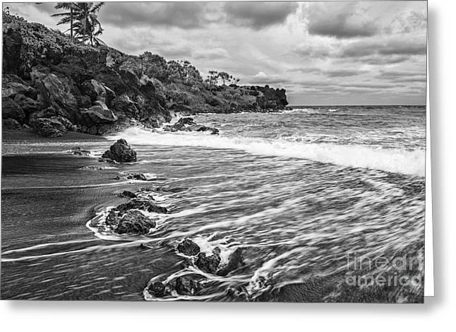 Movement. Blur Greeting Cards - Black Sand Tides Greeting Card by Jamie Pham