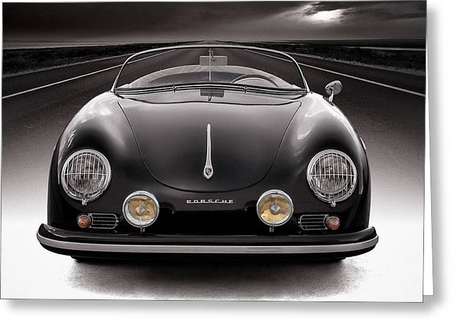 Vintage Auto Greeting Cards - Black Speedster Greeting Card by Douglas Pittman