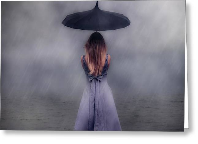 black umbrella Greeting Card by Joana Kruse