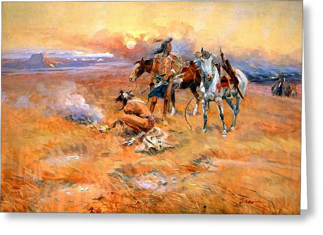 Horse And Riders Greeting Cards - Blackfeet Burning Crow Buffalo Range Greeting Card by Charles Russell