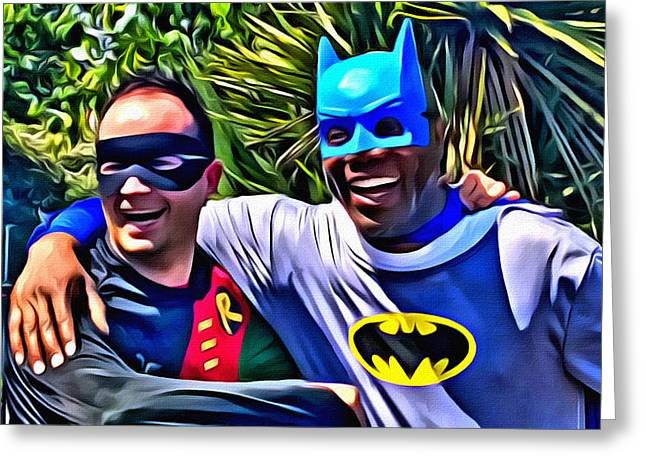 Crime Fighter Digital Art Greeting Cards - Blackman and Robin Greeting Card by The Jones Collection