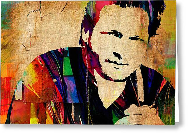 Country Music Greeting Cards - Blake Shelton Collection Greeting Card by Marvin Blaine
