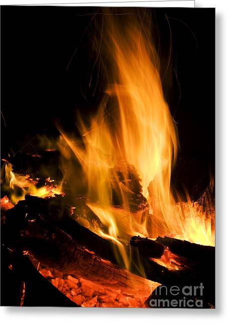 Engulfing Greeting Cards - Blazing Campfire Greeting Card by Ryan Jorgensen