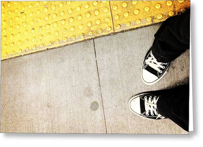 Running Shoe Greeting Cards - Bleecker Street Subway Greeting Card by Natasha Marco