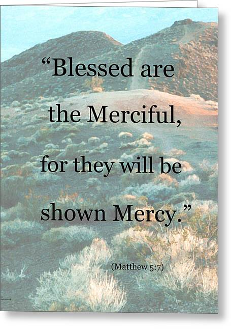 Jesus Mixed Media Greeting Cards - Blessed are the Merciful Greeting Card by Patricia Januszkiewicz