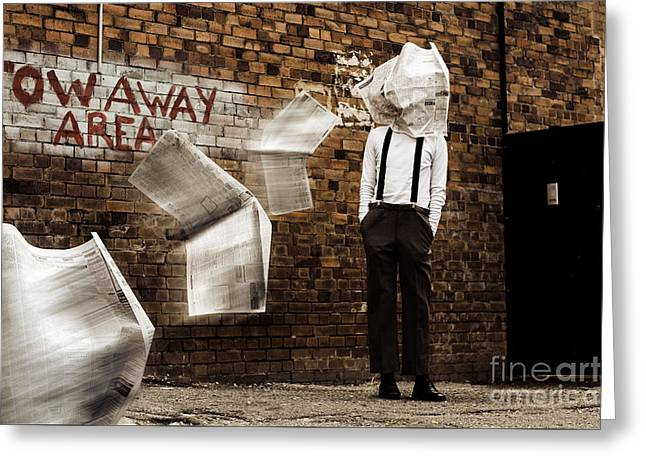 Blinded By The News Headlines Greeting Card by Jorgo Photography - Wall Art Gallery