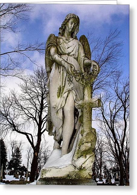 Gothic Cross Greeting Cards - Blissful Angel Greeting Card by Gothicolors Donna Snyder