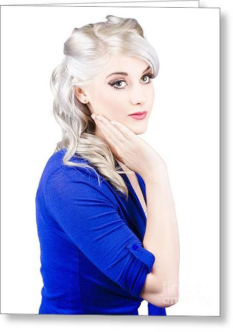 Blue Blouse Greeting Cards - Blond in blue Greeting Card by Ryan Jorgensen