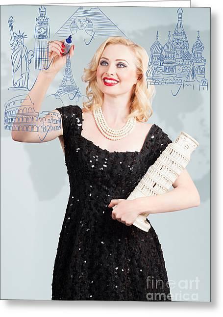 Historic Statue Greeting Cards - Blond woman drawing a travel landmark illustration Greeting Card by Ryan Jorgensen