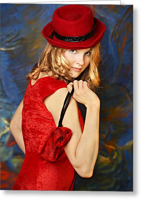 Evening Handbag Greeting Cards - Blond woman in a red hat Greeting Card by Radka Linkova