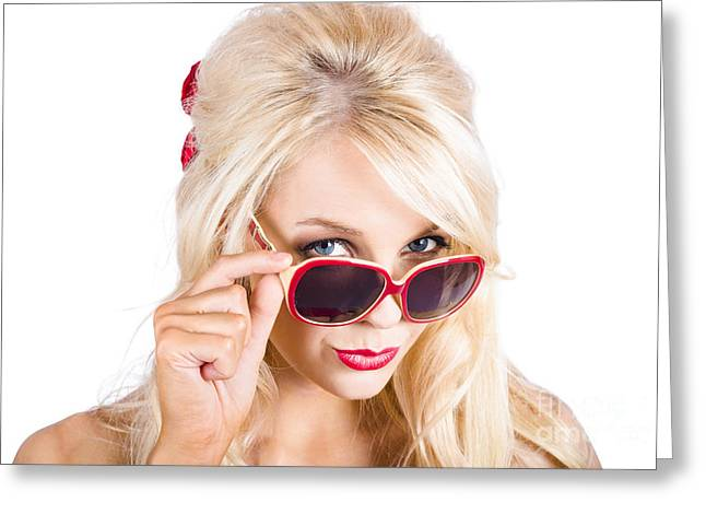 Youthful Photographs Greeting Cards - Blond woman in sunglasses Greeting Card by Ryan Jorgensen