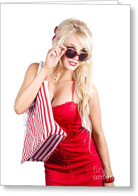 Shoulder Bag Greeting Cards - Blond woman shopping Greeting Card by Ryan Jorgensen