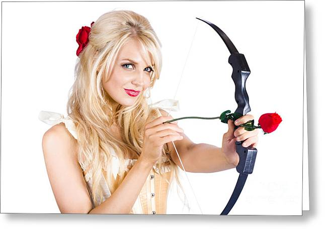 Blond Woman With Cupid Bow Greeting Card by Jorgo Photography - Wall Art Gallery
