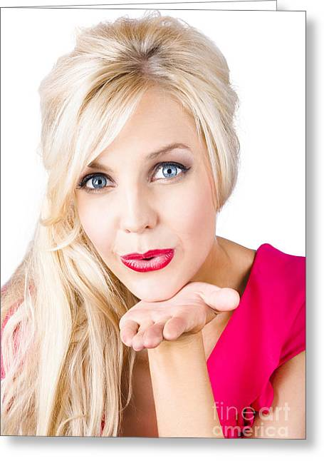 Blonde Female Lover Blowing Kiss Greeting Card by Jorgo Photography - Wall Art Gallery