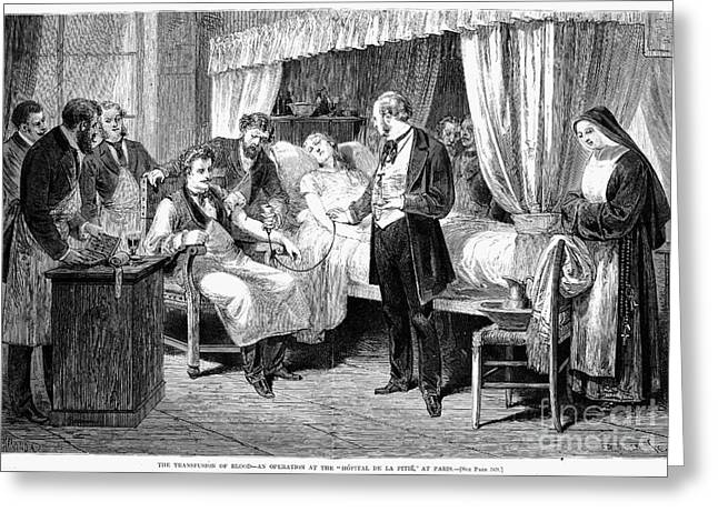 1874 Greeting Cards - Blood Transfusion, 1874 Greeting Card by Granger