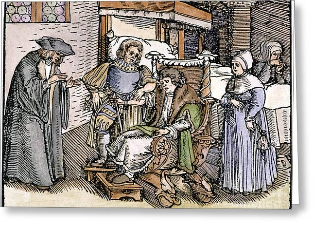 1540 Greeting Cards - Bloodletting, 1540 Greeting Card by Granger